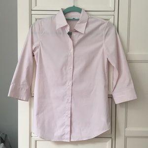 Uniqlo pink stripe collared shirt